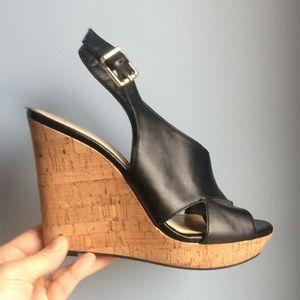 Black cork wedge sandal by Jessica Simpson